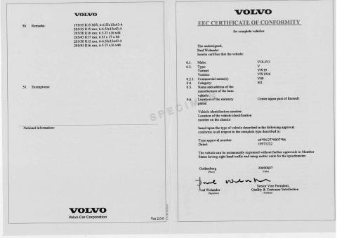 Vente de certificat de conformité Volvo